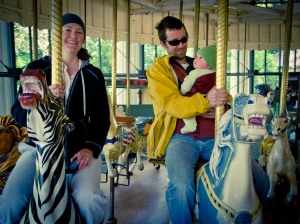 Audrey's first spin on a carousel.
