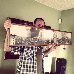Trent shows off the historic photo we bought a few years ago for 3675 of SF burning after the 1906 quake.